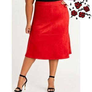 Ashley Stewart Red Faux Suede Skirt Size 22/24